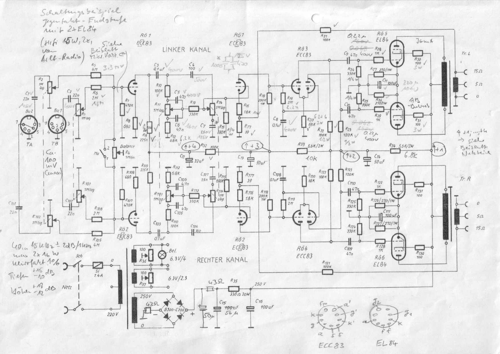 16W HiFi Mono-Gegentakt-Verstärker mit 2x EL84 und mp3-Modul sowie ...